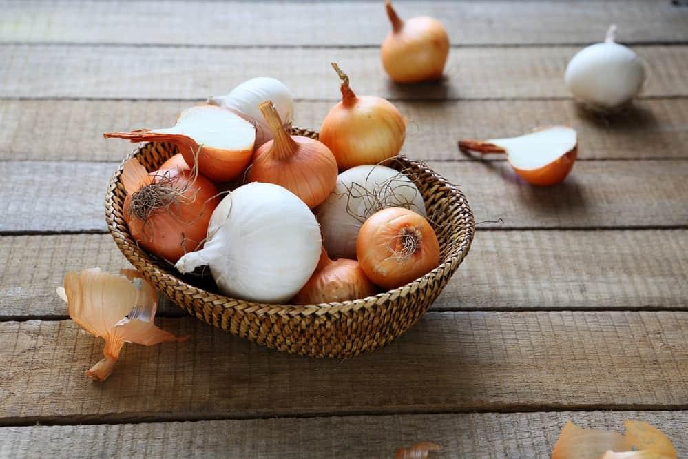 Oignon dans un panier-jus-oignons